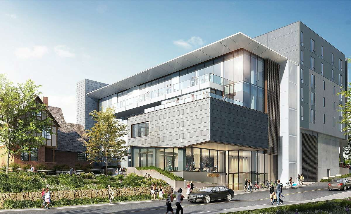 UC Berkeley wants to build these classrooms for its Goldman School of Public Policy, as seen from Hearst Avenue looking northeast.