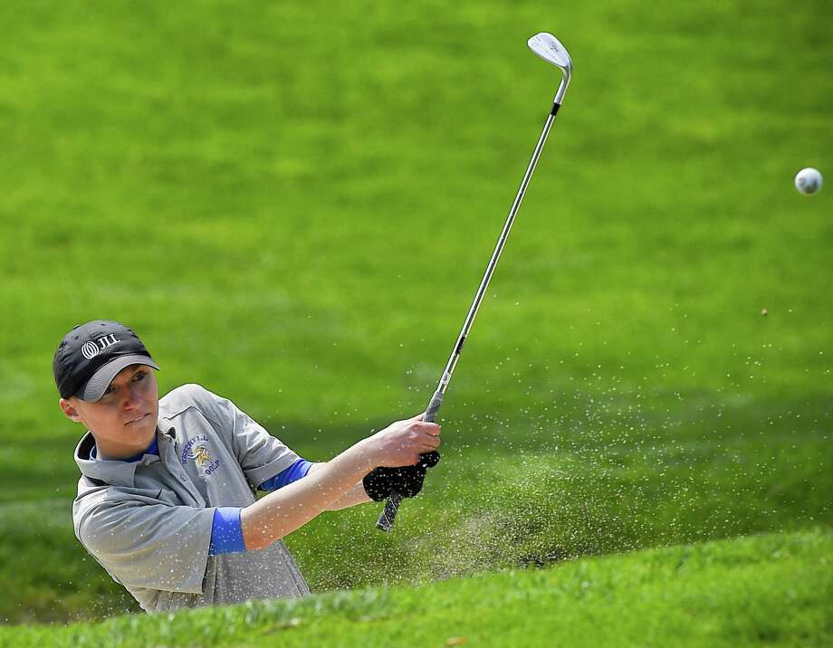 Westhill's Jared Goldstein hits out of a bunker on the eighth hole during the Stamford City Golf Championship in the 36th edition of the Brian Fitzpatrick Memorial Golf Tournament at Woodway country Club in Darien on May 2, 2019. Photo: Matthew Brown / Hearst Connecticut Media / Stamford Advocate