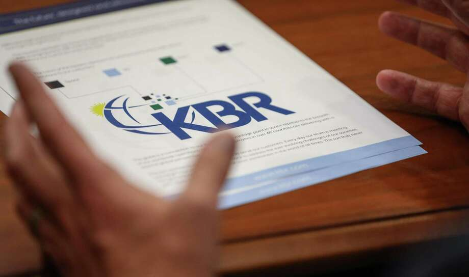 EMBARGOED. DO NOT USE UNTIL 6 AM CST FRIDAY MAY 3, 2019. KBR's rebranded logo moves away from Haliburton red, in favor of creating an identity of its own. Photographed at the company's Houston office on Thursday, April 18, 2019, in Houston. Photo: Jon Shapley, Houston Chronicle / Staff Photographer / © 2019 Houston Chronicle
