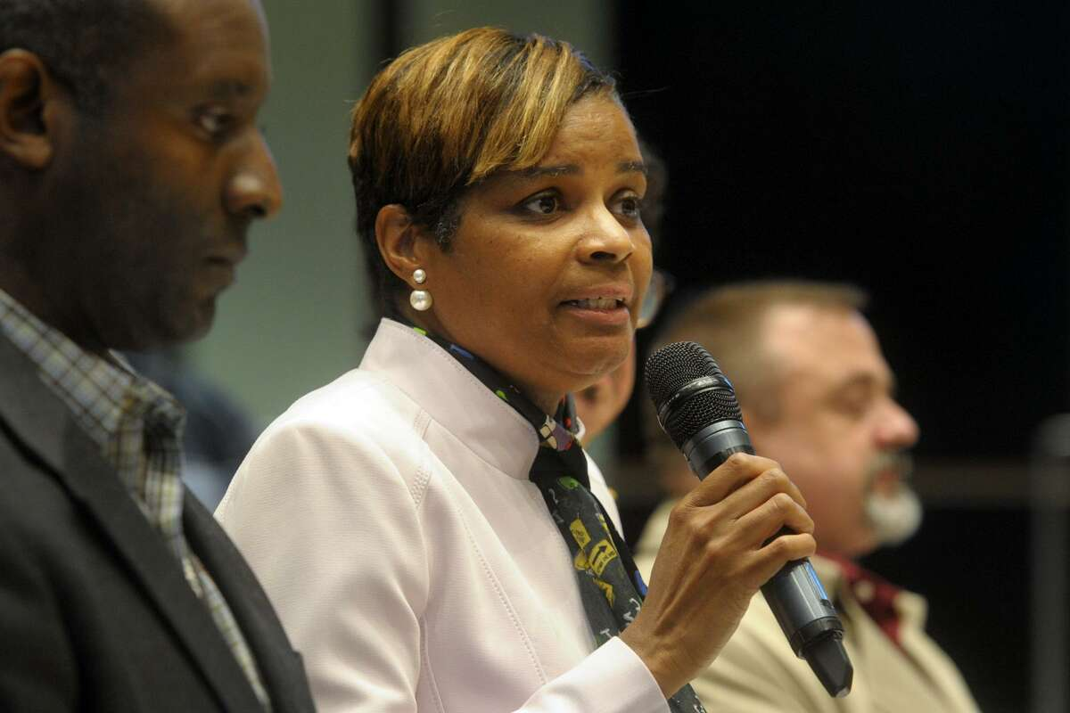 Superintendent of Schools Aresta Johnson speaks at a public hearing before the Bridgeport City Council's Budget and Appropriations Committee in Bridgeport, Conn. May 2, 2019. Johnson recently announced she will leave her position later this year.
