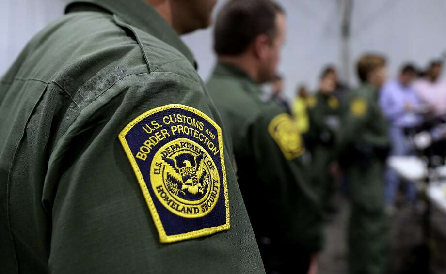 Border Patrol agents hold a news conference prior to a media tour of a new U.S. Customs and Border Protection temporary facility near the Donna International Bridge, Thursday, May 2, 2019, in Donna, Texas. Officials say the site will primarily be used as a temporary site for processing and care of unaccompanied migrant children and families and will increase the Border Patrol's capacity to process migrant families. (AP Photo/Eric Gay) Photo: Eric Gay, Associated Press