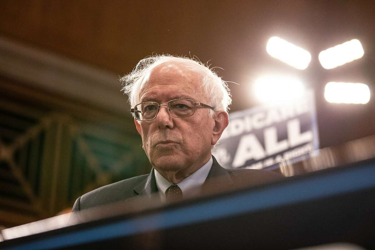 Senator Bernie Sanders, an Independent from Vermont, listens during a press conference introducing the Medicare for All Act of 2019 in Washington, D.C., U.S., on Wednesday, April 10, 2019.