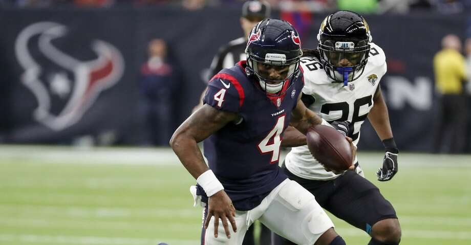 PHOTOS: What to know about Tytus Howard Houston Texans quarterback Deshaun Watson (4) breaks away from Jacksonville Jaguars outside linebacker Telvin Smith (50) as he runs outside during the second quarter of an NFL football game at NRG Stadium on Sunday, Dec. 30, 2018, in Houston. Browse through the photos to get to know Texans first-round draft pick Tytus Howard. Photo: Brett Coomer/Staff Photographer