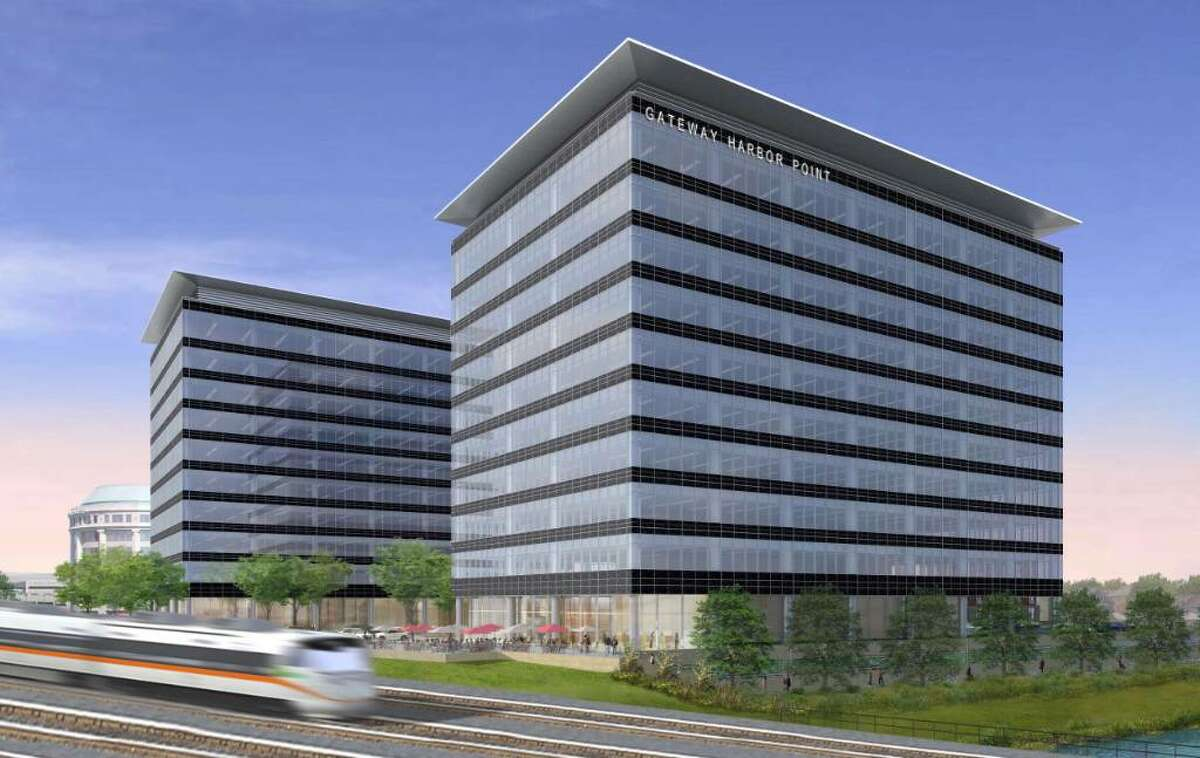 An architectural rendering of the proposed Gateway Harbor Point office buildings.