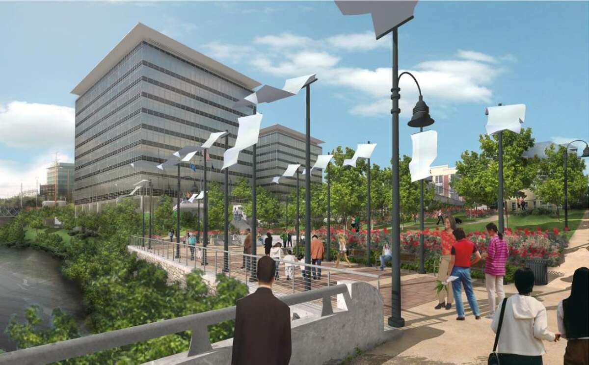 An architectural rendering of the proposed Gateway Harbor Point office buildings as would be seen from Pulaski Street.