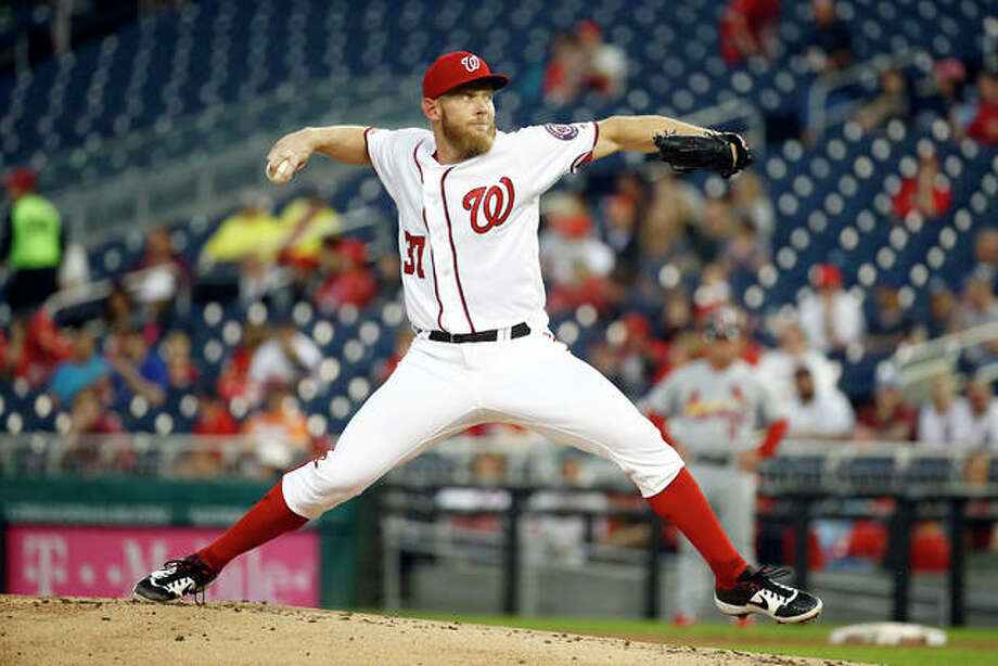 Washington Nationals pitcher Stephen Strasburg pitches to the Cardinals Thursday night in Washington. Photo: AP Photo