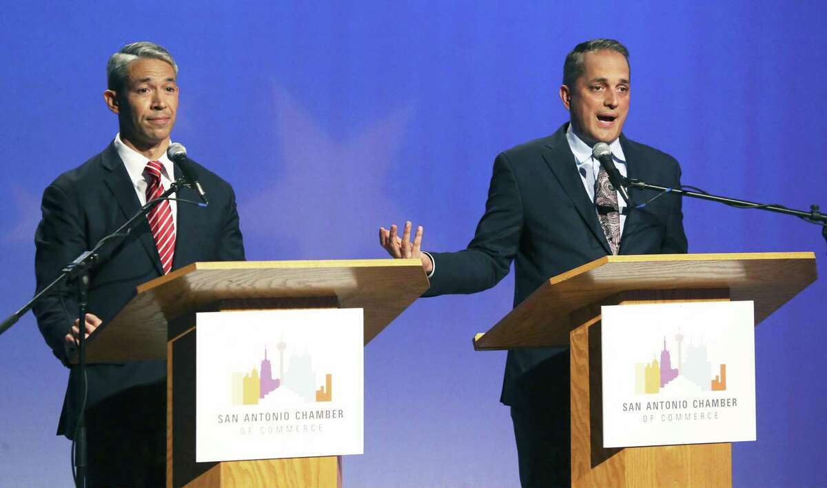 Ron Nirenberg and Greg Brockhouse face off at the KLRN Studios on May 2, 2019, in their last debate before the mayoral election. The May 4 election ended in a runoff between the two men. Early voting for the June 8 runoff will continue through Tuesday.