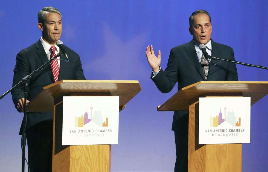 Ron Nirenberg and Greg Brockhouse face off at the KLRN Studios on May 2. Photo: Tom Reel /Staff Photographer / 2019 SAN ANTONIO EXPRESS-NEWS
