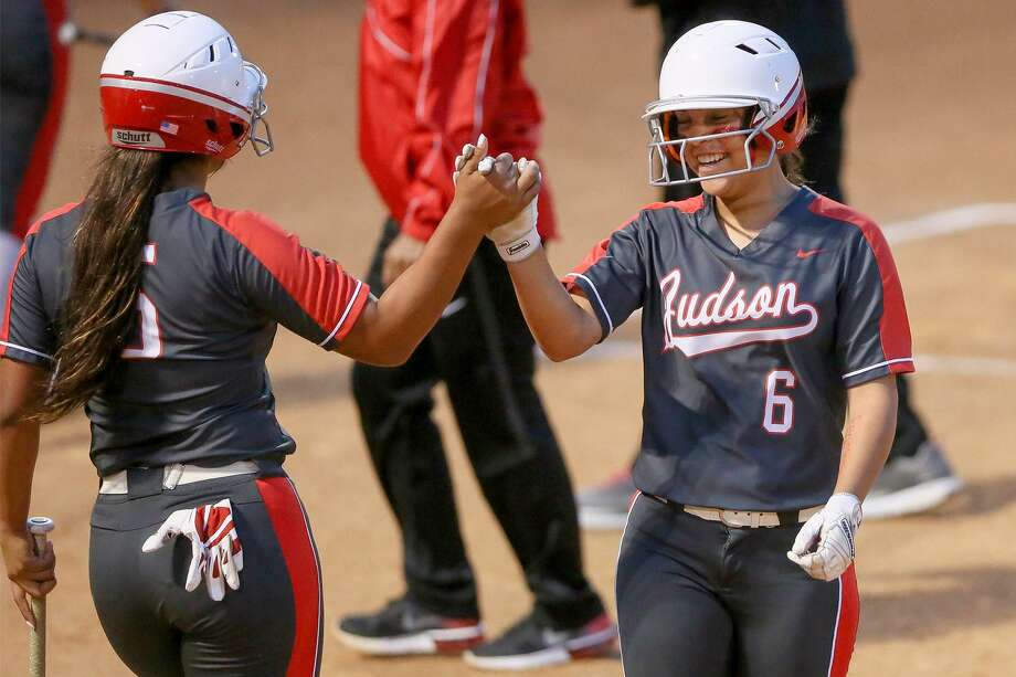 Judson's Kadee Luna, right, celebrates her three-RBI double in the fifth inning with Kelsie Ramos, left, during their UIL Class 6A second-round high school softball playoff game with Johnson Judson at Northside ISD softball field No. 2 on Thursday, May 2, 2019. Judson advanced to the next round with a 4-2 victory over Johnson in the one-game series. Photo: Marvin Pfeiffer, Staff Photographer / Express-News 2019