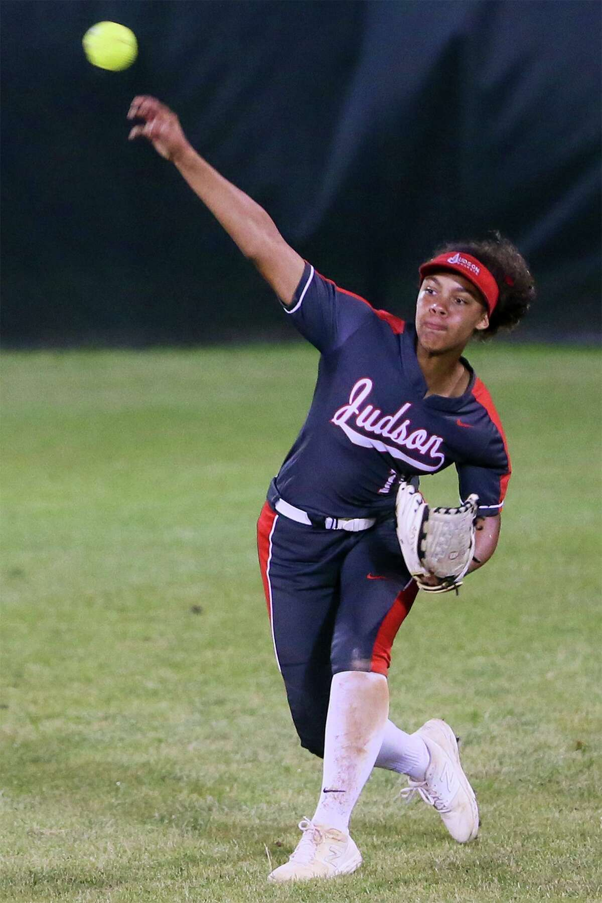 Judson's Keely Williams makes a play from center field during the sixth inning of their UIL Class 6A second-round high school softball playoff game with Johnson at Northside ISD softball field No. 2 on Thursday, May 2, 2019. Judson advanced to the next round with a 4-2 victory over Johnson in the one-game series.