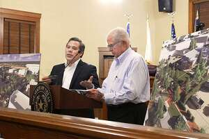 Eddie Quiroga, of Metaform Studios, and Kennedy Whiteley, of Ausland Architects, delivered an update on the veteran's museum Thursday at the Webb County Commissioners Court.