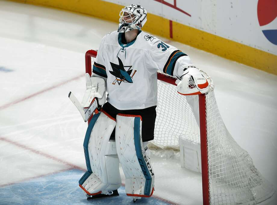 Sharks goalie Martin Jones stopped 25 shots, but was outdone by Colorado's Philipp Grubauer, who made 32 saves for his first career postseason shutout. Photo: David Zalubowski / Associated Press