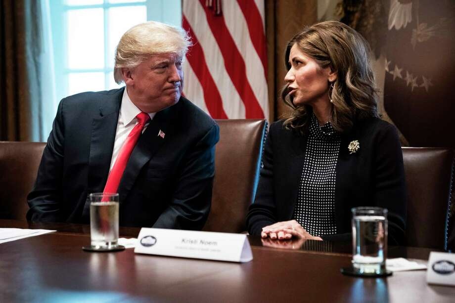 President Donald Trump and South Dakota Gov.-elect Kristi Noem, R, during a meeting with governors-elect at the White House on Dec. 13, 2018.  >>20 authors, celebs and politicians who oppose Keystone Photo: Washington Post Photo By Jabin Botsford / The Washington Post