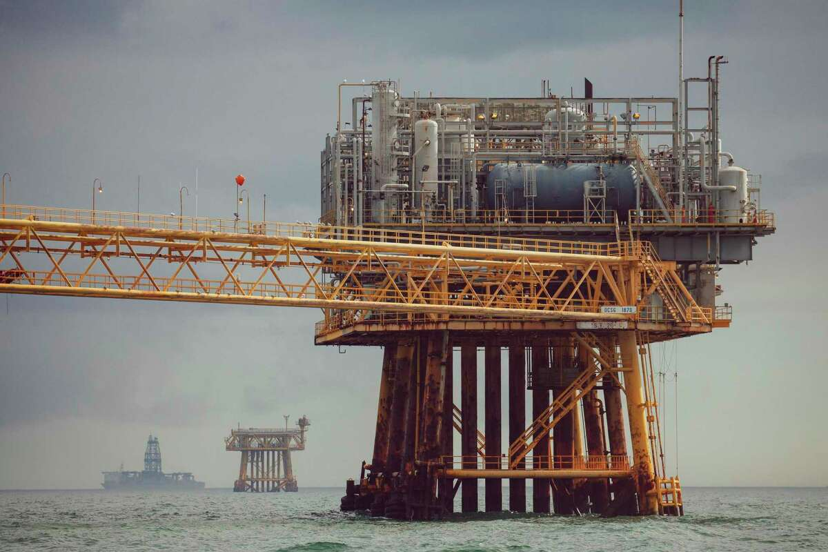 A platform in the Gulf of Mexico, south of Port Fourchon, La. Texas Democrats are largely staying quiet on President-elect Joe Biden's climate ambitions, most notably his pledge to halt oil and gas leasing in federal lands and waters, including the Gulf of Mexico.