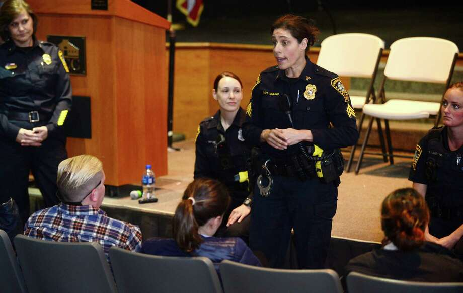 Female police officers including Seargent Sofia Gulino speak at The Norwalk Police Department Women's Symposium recruitment event Thursday, May 2, 2019, at Norwalk Community College in Norwalk, Conn. The event focused on women who are interested in a career in law enforcement. The all female panel of supervisors and officers provided a unique perspective and offered an opportunity for questions. Photo: Erik Trautmann / Hearst Connecticut Media / Norwalk Hour