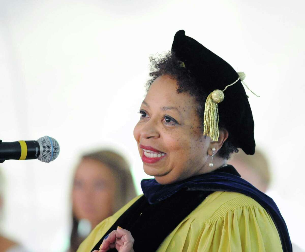 Dr. Joanne Berger-Sweeney, president of Trinity College, speaks during the Greenwich Academy Commencement at the school in Greenwich, Conn., Thursday, May 21, 2015.