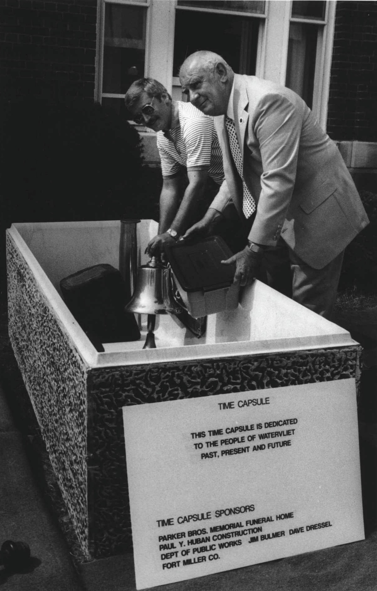 Watervliet City Hall, 1988:Filling a time capsule are City Clerk Paul Murphy and Mayor Leo O'Brien on July 14, 1988 (Roberta Smith/Times Union Archive)