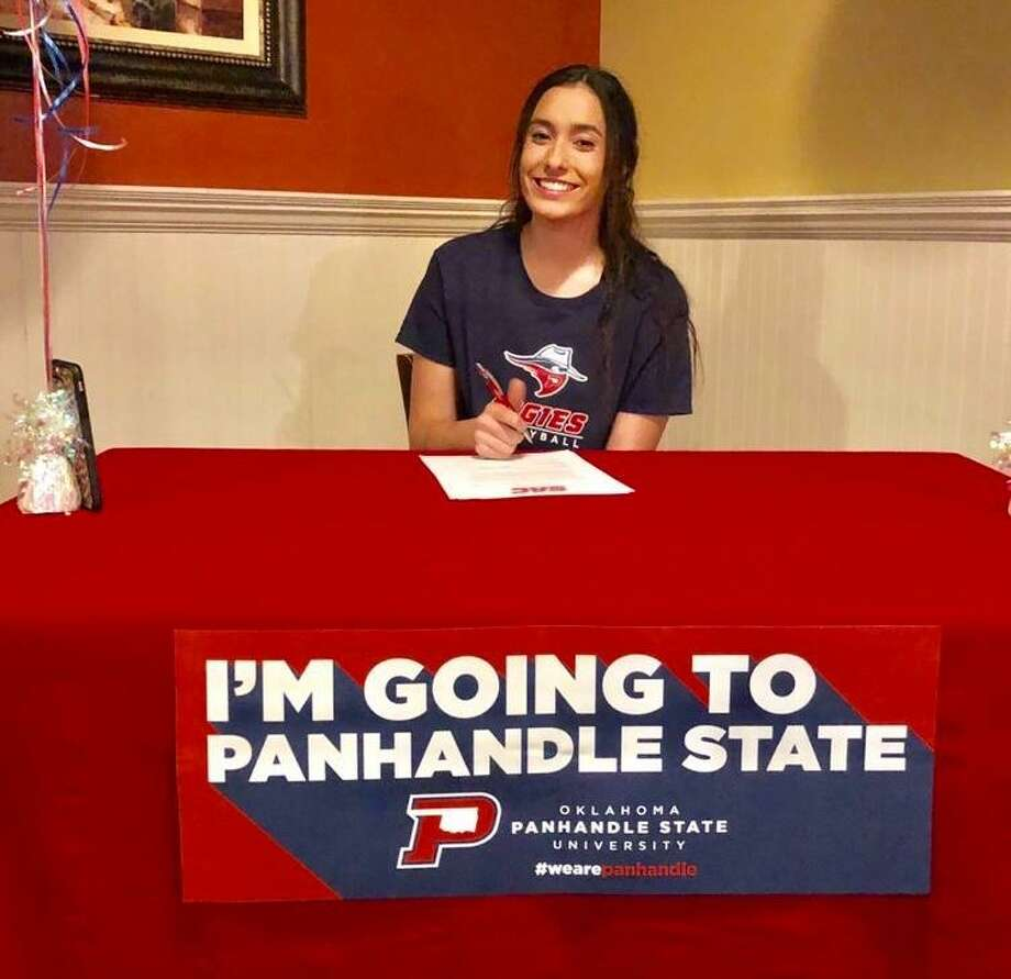 Magnolia volleyball player Richelle Carroll signed with Oklahoma Panhandle State University on Thursday, May 2, 2019. Photo: Photo Submitted