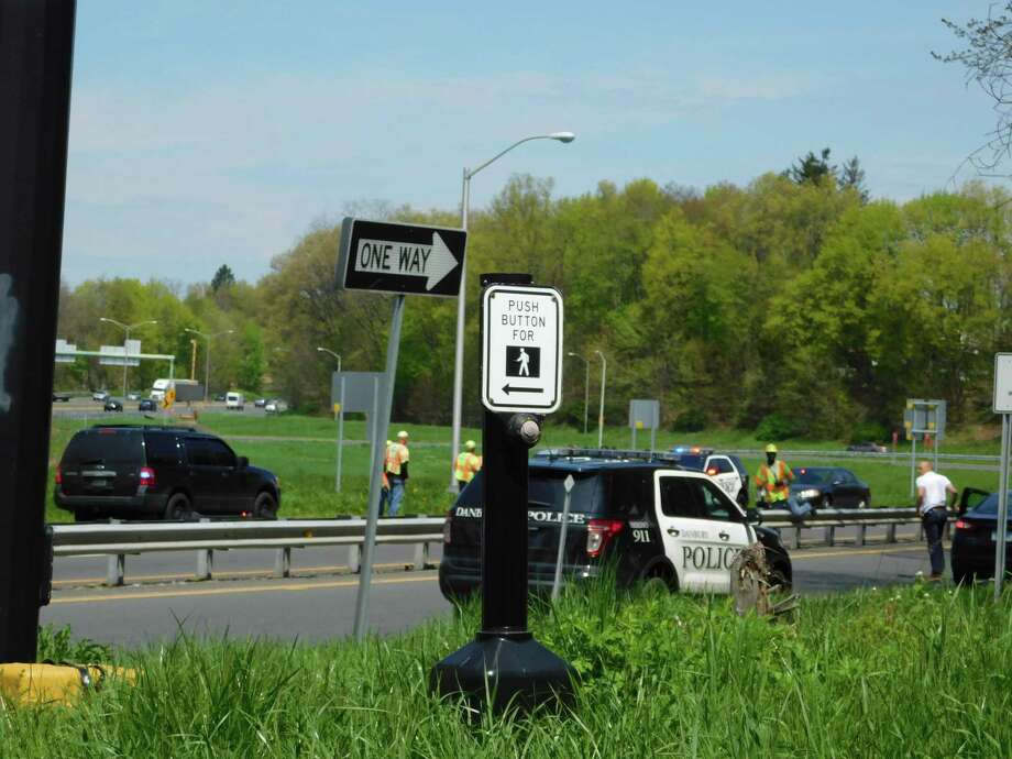The body of a man was found near the Exit 4 ramps to I-84 in Danbury on May 2, 2019. Photo: Kendra Baker / Hearst Connecticut Media
