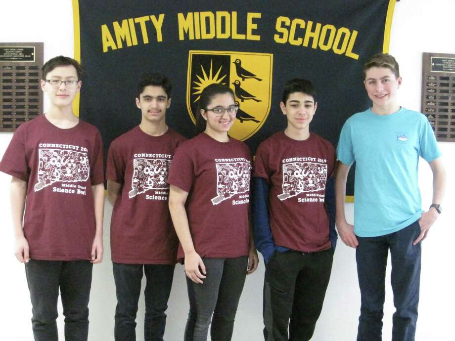 Five students from Amity Middle School in Bethany and their coach, Jacob Feuerstein, a senior at Amity Regional High School, participated in the Connecticut Middle School Science Bowl on Saturday, February 23rd at UConn. The Science Club at Amity Middle School in Bethany is advised by parent volunteer, Teri Schatz. The Science Bowl, sponsored by the U.S. Department of Energy, is a highly competitive nationwide academic competition that tests students' knowledge in all areas of science and mathematics. The 32 teams faced off in a fast paced question-and-answer format and were tested on a range of science disciplines including biology, chemistry, earth science, physics, energy, and math. After Amity Middle School in Bethany lost to Smith Middle School in the afternoon elimination round, the students participated in hands-on demonstrations with students from the UConn Chemistry Department. Photo: Contributed Photo