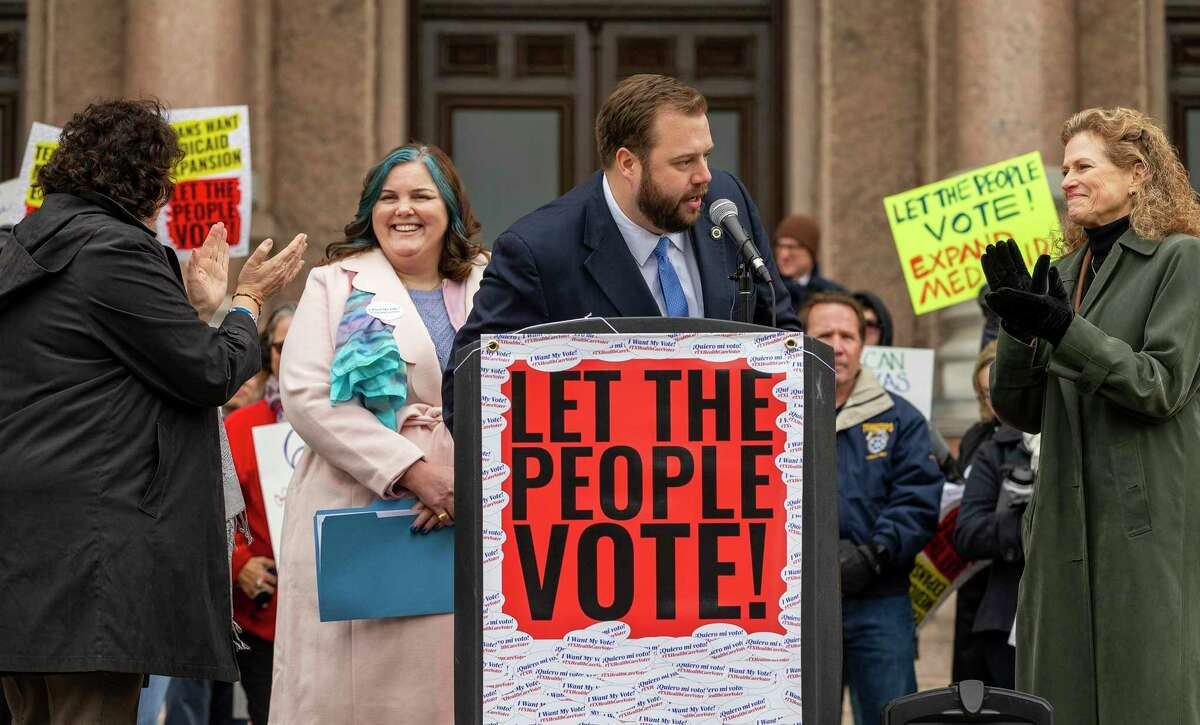 State Rep. Celia Israel, D-Austin, state Rep. Michelle Beckly, D-Carrollton, State Rep. John Bucy III, D-Austin, state Rep. Donna Howard, D-Austin, speak during a rally to expand Medicaid at the Capitol, Monday, March 4, 2019.