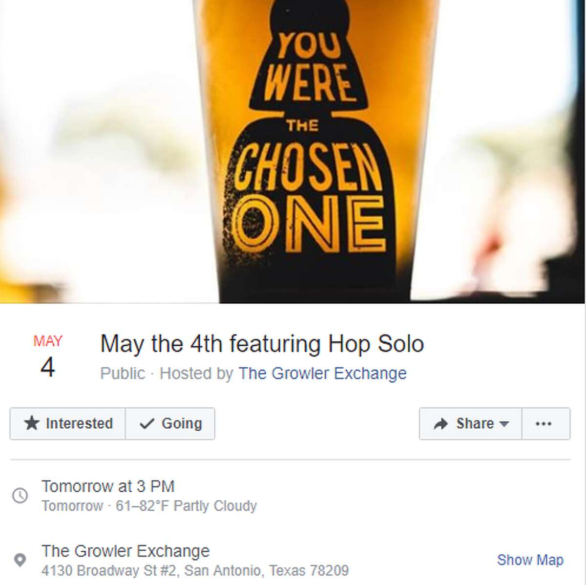 The Growler Exhcange's May the 4th Featuring Hop Solo