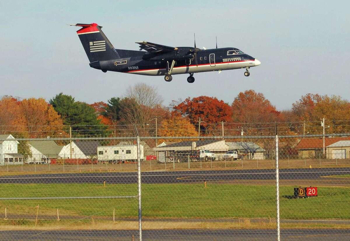 A US Airways flight lands at Tweed Airport.