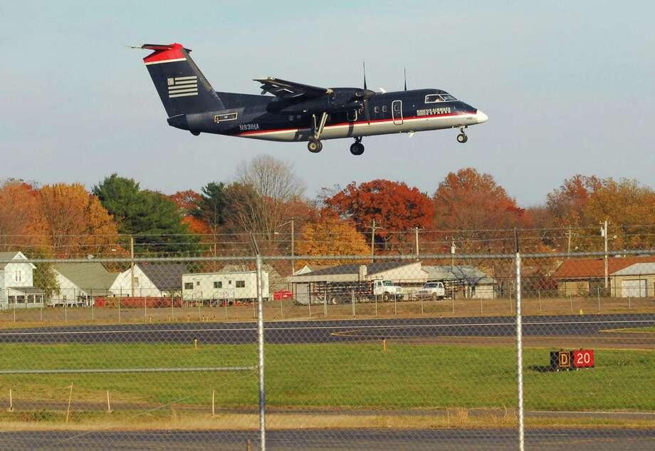 A US Airways flight lands at Tweed Airport. Photo: File Photo