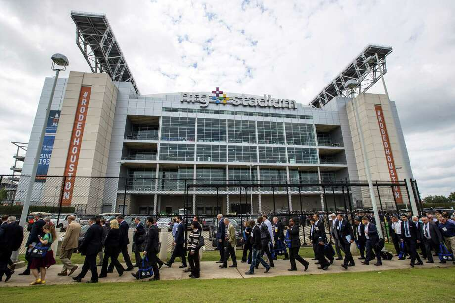 Attendees leave NRG Stadium following the opening ceremony of the 50th Offshore Technology Conference on Monday, April 30, 2018, in Houston. ( Brett Coomer / Houston Chronicle ) Photo: Brett Coomer, Staff / Houston Chronicle / © 2018 Houston Chronicle