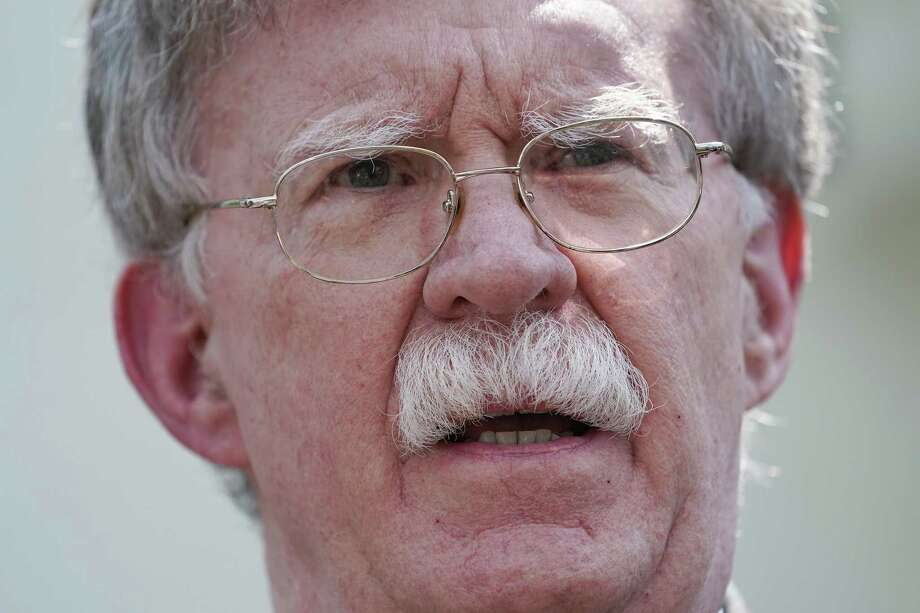 WASHINGTON, DC - APRIL 30: White House National Security Advisor John Bolton talks to reporters outside of the White House West Wing April 30, 2019 in Washington, DC. Bolton answered questions about the security and political turmoil in Venezuela and called for a peaceful transition to a government controlled by acting President Juan Guaido. (Photo by Chip Somodevilla/Getty Images) Photo: Chip Somodevilla / Getty Images / 2019 Getty Images