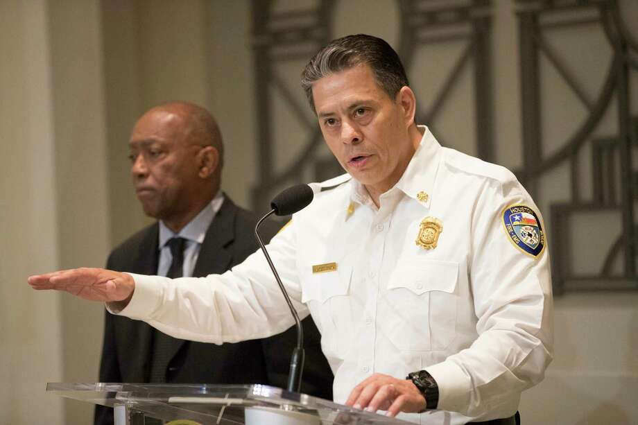 Houston Fire Chief Samuel Peña peaks during a press conference about Proposition B on Friday, May 3, 2019, in Houston. Photo: Marie D. De Jesús, Staff Photographer / © 2019 Houston Chronicle