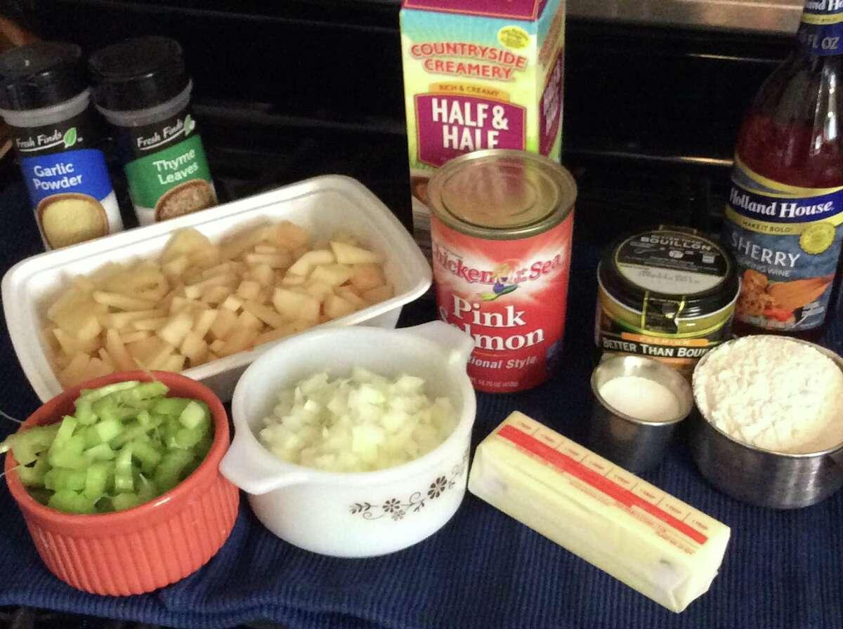 Ingredients to make Lender's Salmon Chowder