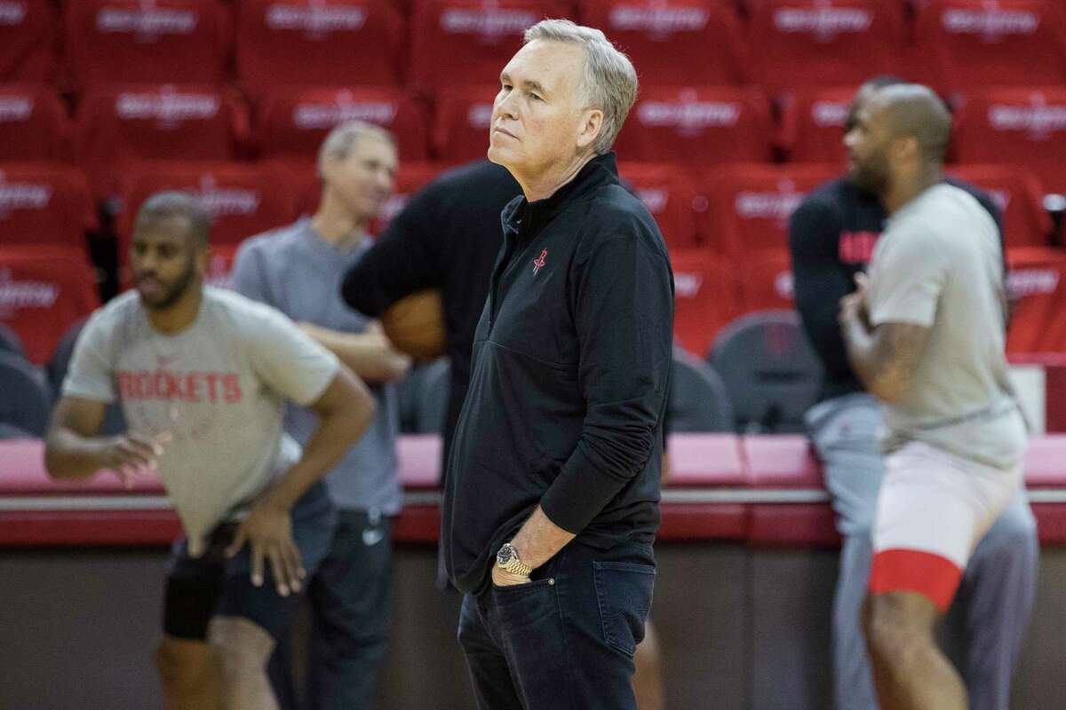 Houston Rockets head coach Mike D'Antoni watches his team warm up during Rockets practice at Toyota Center on Friday, May 3, 2019, in Houston. The Rockets, down 0-2 in the NBA Western Conference semifinals, play the Golden State Warriors in Game 3 on Saturday.