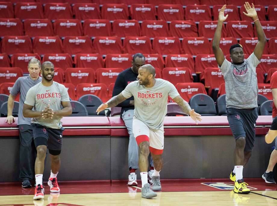 PHOTOS: Rockets practice a day before Game 3 vs. Warriors Houston Rockets guard Chris Paul, forward PJ Tucker and center Clint Capela stretch during Rockets practice at Toyota Center on Friday, May 3, 2019, in Houston. The Rockets, down 0-2 in the NBA Western Conference semifinals, play the Golden State Warriors in Game 3 on Saturday. >>>See more photos from the Rockets practice Friday ... Photo: Brett Coomer, Staff Photographer / © 2019 Houston Chronicle