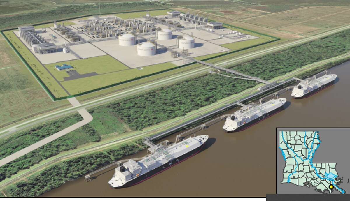 An artist rendering of Venture Global's proposed 20-million-metric ton Plaquemines LNG project in Plaquemines Parish Louisiana - one of three projects the Virginia company plans to build on the Gulf Coast. The company recently secured $675 million of additional capital for the project, which it expects will receive a final order in August from federal regulators granting it permission to build.