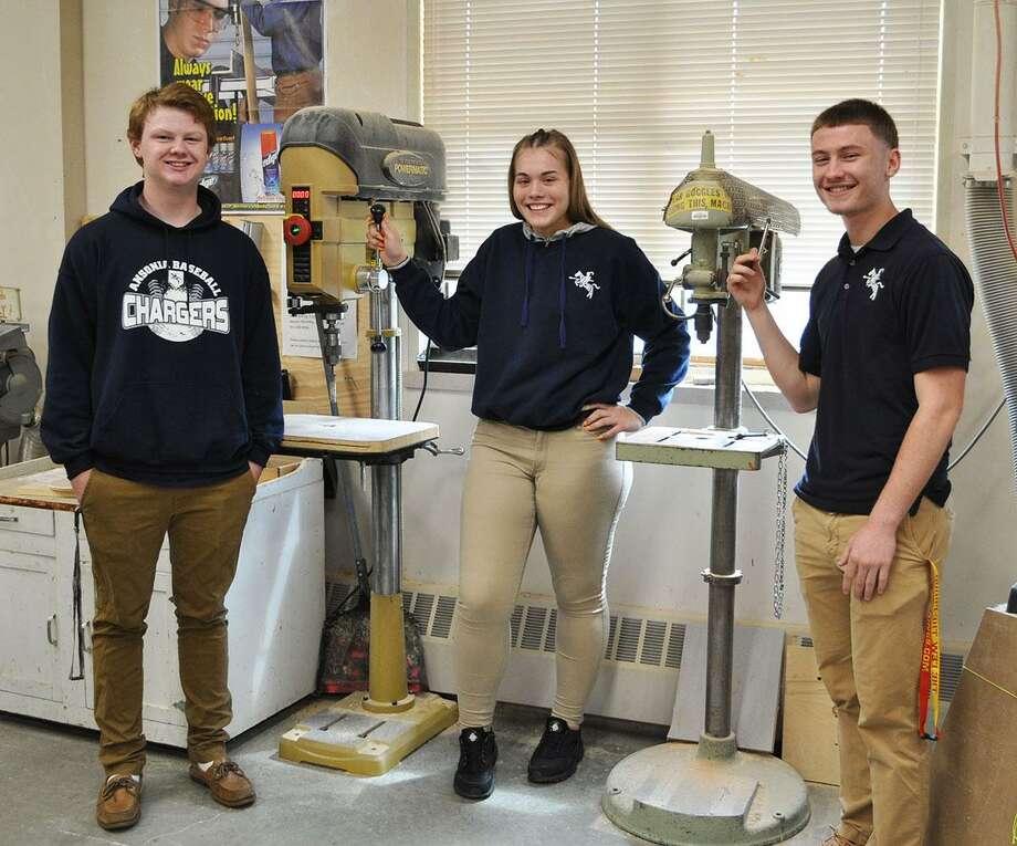 From left, Ansonia High School students Matt DeFelice, Anna Msciwujewska and Ian Gifford Photo: Contributed Photo