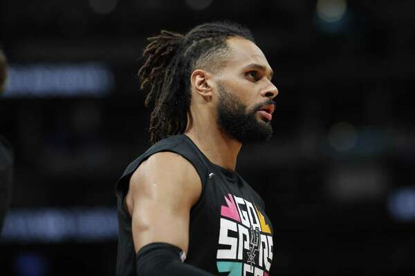 San Antonio Spurs guard Patty Mills (8) in the first half of Game 7 of an NBA basketball first-round playoff series Saturday, April 27, 2019, in Denver. (AP Photo/David Zalubowski)