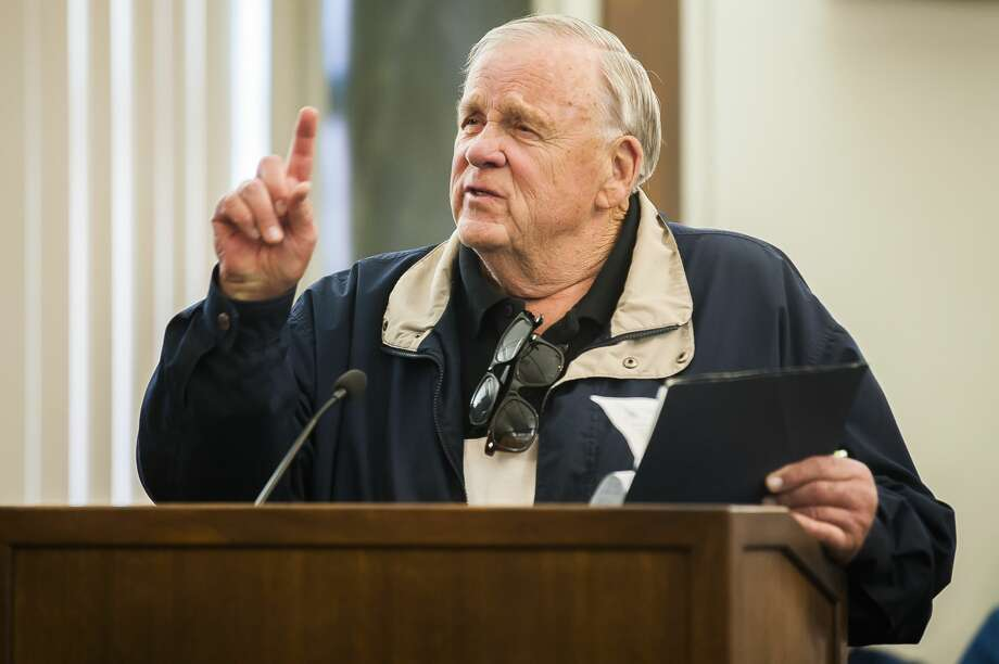 Michael Rybak of Bay City makes a comment during a public court hearing on Friday, May 3, 2019 regarding petitions filed jointly by Midland and Gladwin Counties to formalize the normal summer and winter lake levels for Sanford Lake, Wixom Lake, Smallwood Lake and Secord Lake as well as to establish and approve the boundaries of a special assessment district of property owners affected by the lakes. (Katy Kildee/kkildee@mdn.net) Photo: (Katy Kildee/kkildee@mdn.net)