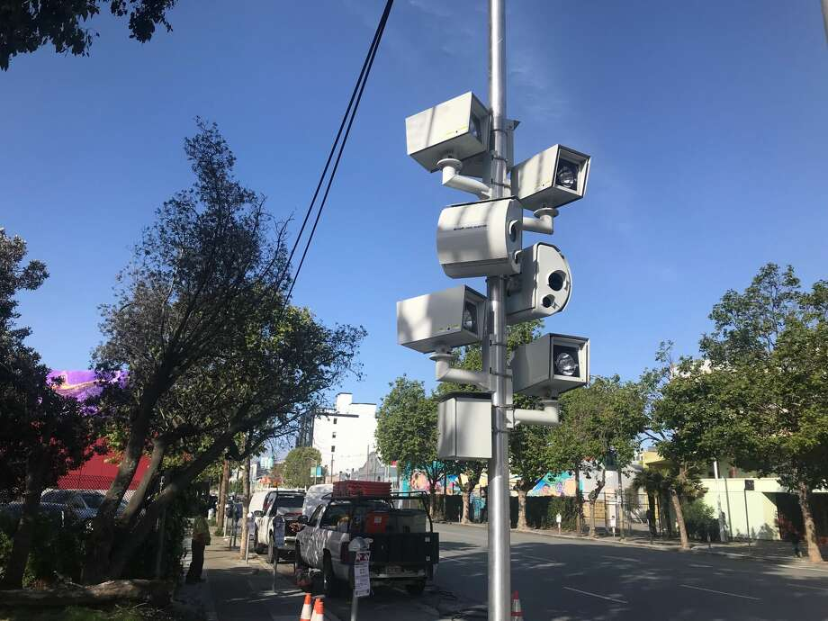New red-light cameras, like these at Fourth and Harrison streets, are being installed around San Francisco. Photo: Amanda Bartlett / SFGATE