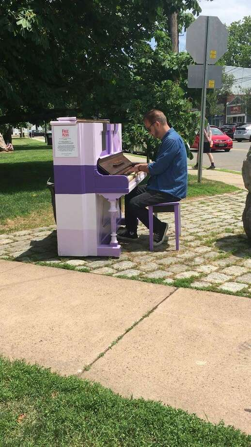 Beginning June 21 on International Make Music Day, 13 pianos painted by local artists and placed in public, outdoor spaces in New Haven, Branford, Guilford, and Madison, Connecticut will become the Free Keys CT Piano Trail. Photo: Contributed