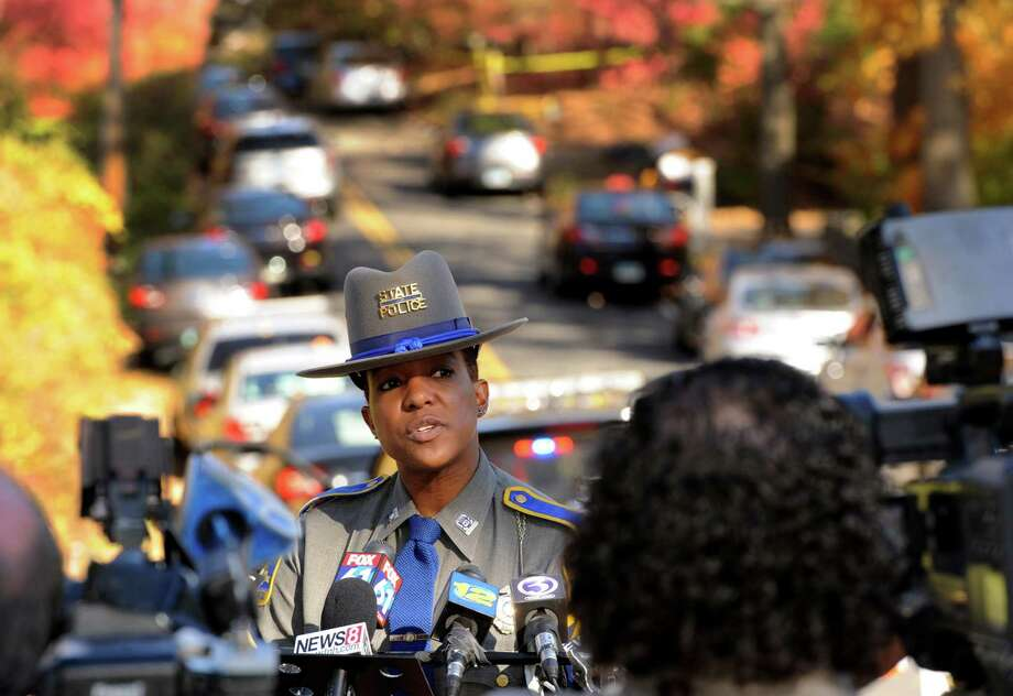 File photo of State Trooper Kelly Grant addressing the media in 2015. Photo: Cathy Zuraw / Hearst Connecticut Media / Connecticut Post