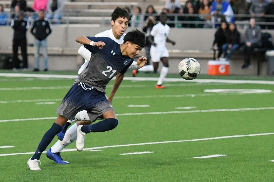 Cypress Ridge sophomore A.J. Garcia (No. 21) earned top Newcomer honors on the boys' soccer 2018-19 All-District 17-6A team. Photo: CFISD