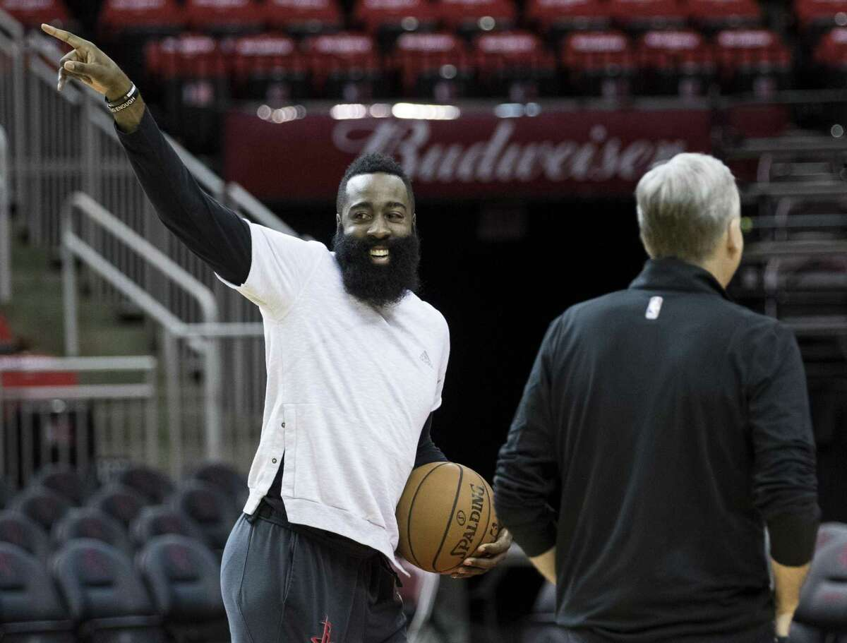 Houston Rockets guard James Harden works with head coach Mike D'Antoni during Rockets practice at Toyota Center on Friday, May 3, 2019, in Houston. The Rockets, down 0-2 in the NBA Western Conference semifinals, play the Golden State Warriors in Game 3 on Saturday.