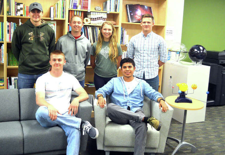 Members of the SIUE chapter of Students for the Exploration and Development of Space (SEDS) include, front row left to right, Connor Demo and Luis Lamas, and back row left to right, Mitch Jansen, Parker Flynn, Elleri Schaefer and Nick McMillen. Photo: Scott Marion | The Intelligencer