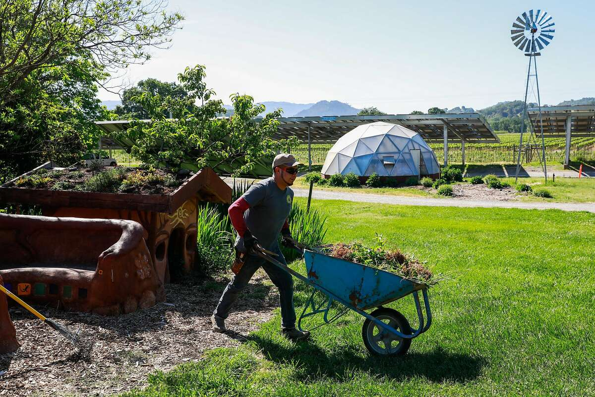 Landscapers Hugo Sanchez maintains the gardens at the Solar Living Center in Hopland, California, on Wednesday, May 1, 2019. Flow Kana recently bought the 12-acre property and will invest money into it to make it a visitors center.