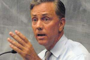 Ned Lamont in a  debate over the proposed Connecticut state budget with Tom Foley  Monday 4/4/11at the Yale Law School. Photo by Peter Hvizdak / New Haven Register    April 4, 2011       ph2289               #2158     Connecticut