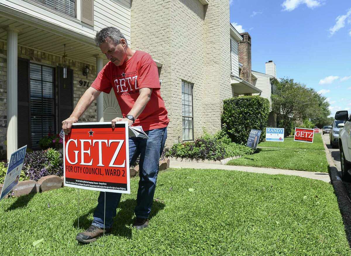 Councilman Ward II Mike Getz campaigns for office in the West Ends Beaumont on Friday afternoon. Photo taken on Friday, 04/1918. Ryan Welch/The Enterprise