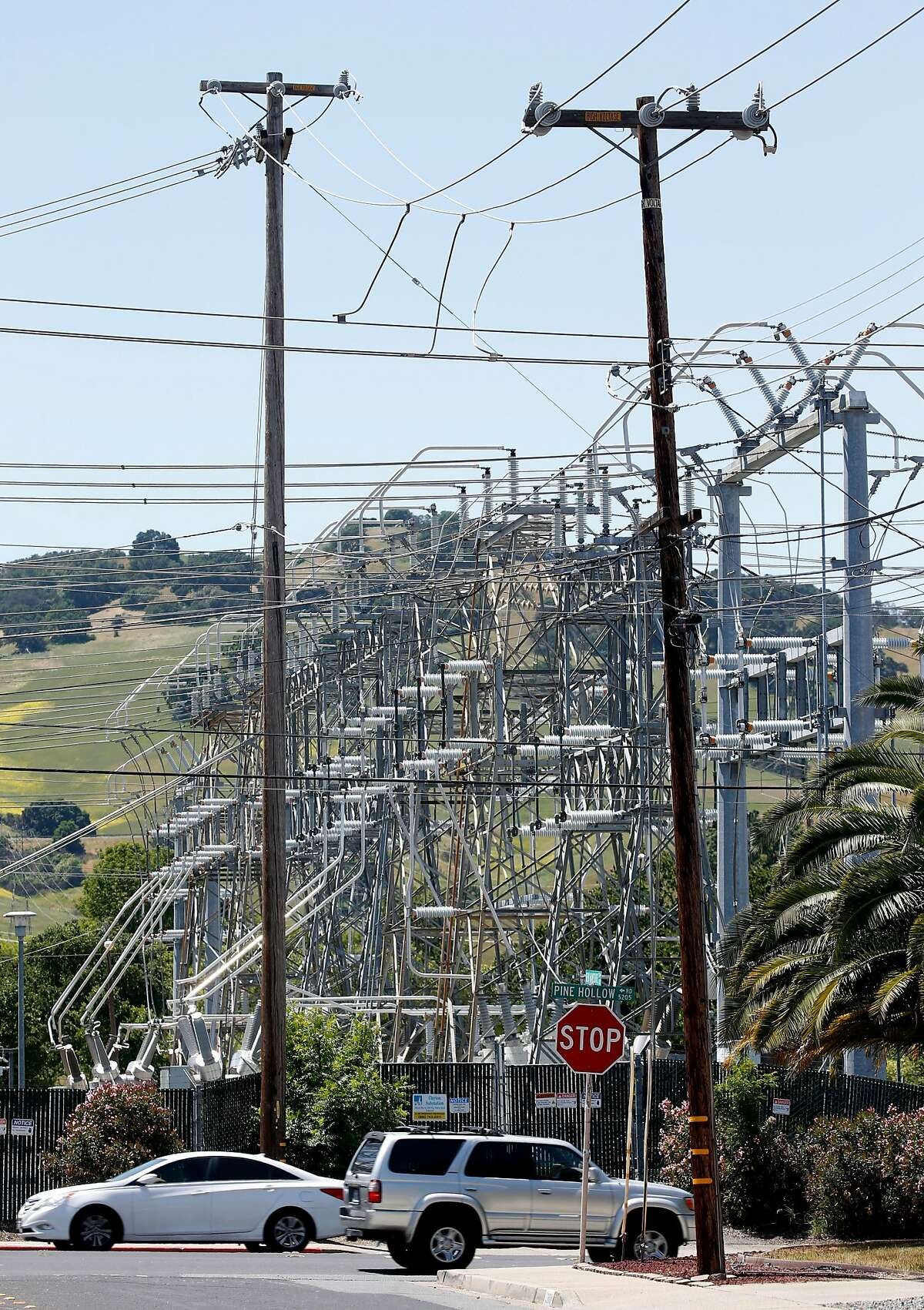 High voltage power lines extend overhead from a PG&E substation on Ygnacio Valley Road in Concord, Calif. on Friday, May 3, 2019. Click through the gallery for a look at the most and least expensive electric bills in the country.