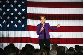 FILE -- Sen. Elizabeth Warren (D-Mass.) holds a campaign event in New York, March 23, 2019. In April, Warren laid out a proposal promising free public college and debt clearance for the majority of student loan holders. (Gabriela Bhaskar/The New York Times)