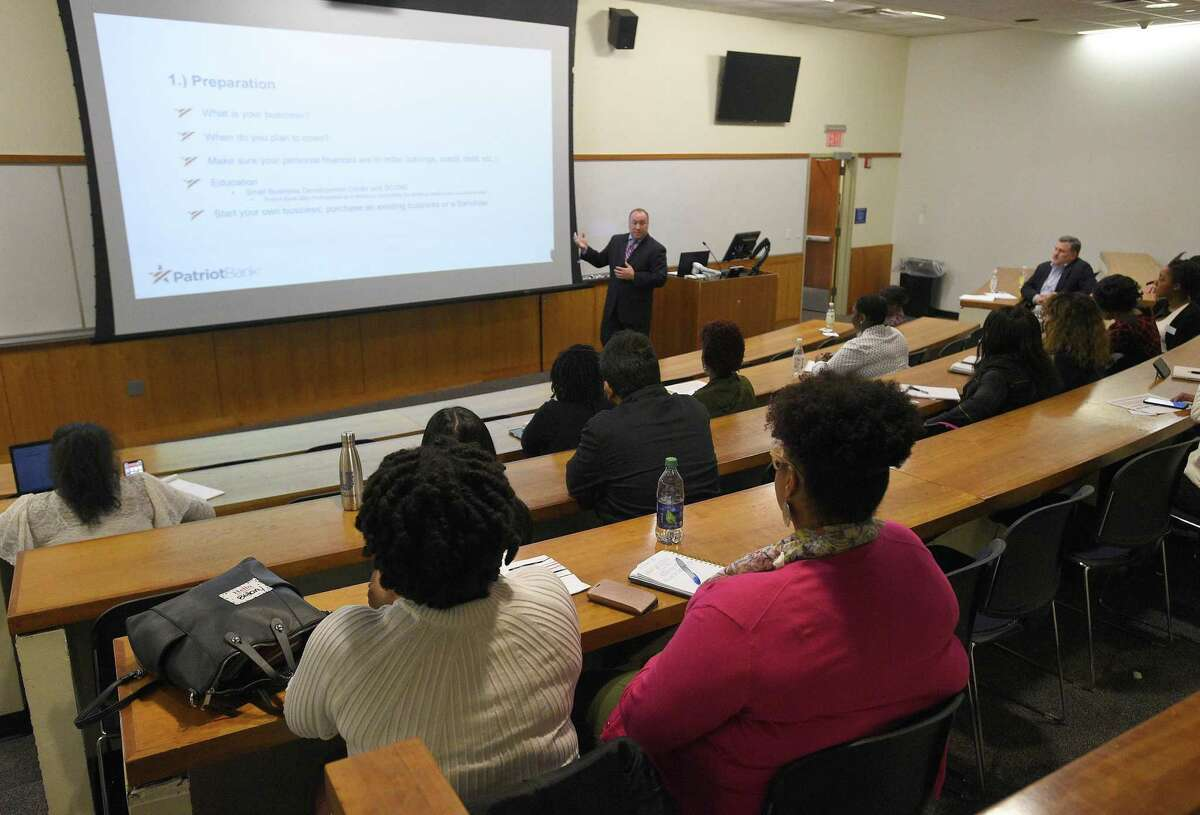 Bill Raffaele, vice president and SBA development officer for Patriot Bank, leads an entrepreneurship workshop during the IRLConn business conference at the UConn Stamford campus, at 1 University Place, on Friday, May 3, 2019.